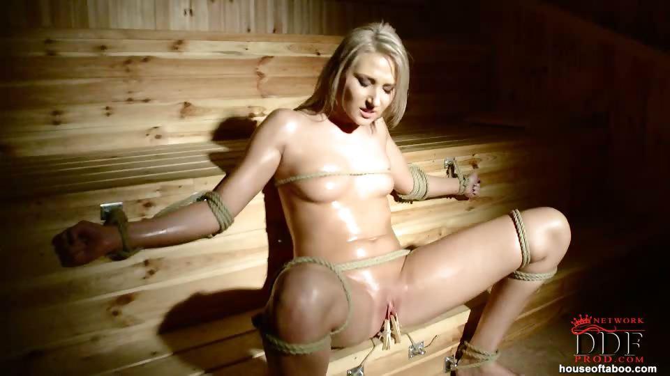 Porno Video of Cutie Bound In The Sauna!