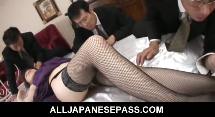 Porno Video of Rina Koizumi Hot Asian Model In Sexy Stockings Gets Fucked By Two Guys