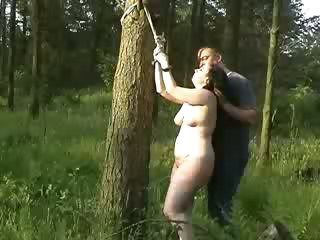 Porn Tube of Chubby Whore Gets Tied Up In The Forrest