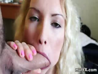 very good looking blonde alex m. rubs her shaved muff before she fills her mouth with raging boner