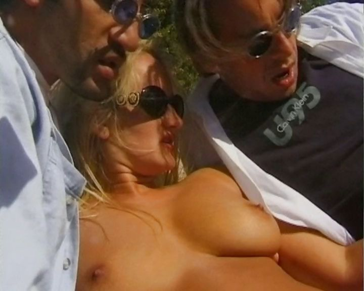 Porno Video of Busty Blonde Sunbathes Nude, Rubs Her Pussy And Then Gets Banged By Two Dudes With A Dp