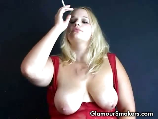 Porn Tube of Big Breasted Blonde Slut Smoking And Playing With Her Tits