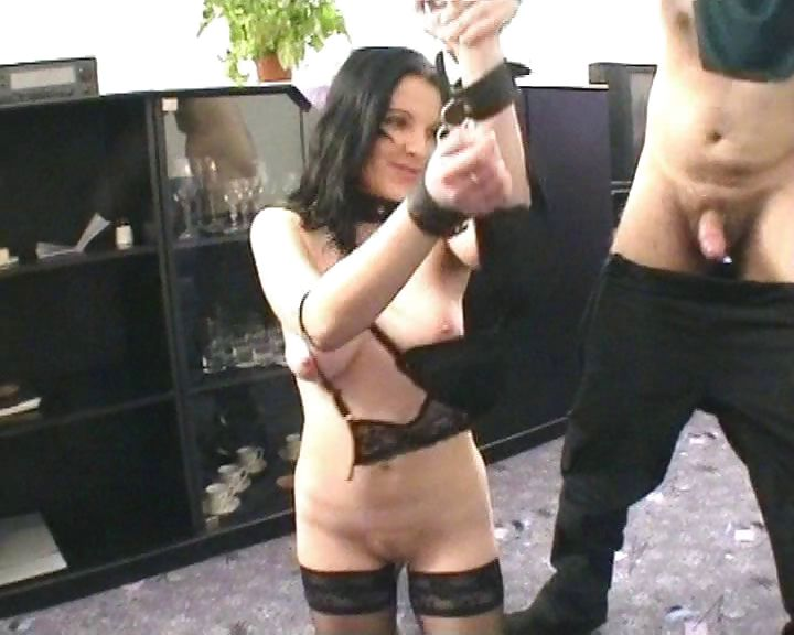 Porno Video of Brunette Slave Is Tied Up And Collared Made To Suck And Get A Facial