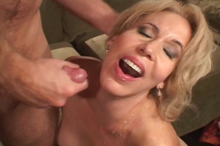 Porn Tube of Mature Blonde Hottie Teases A Young Stud And Takes His Cock In Her Furry Muff