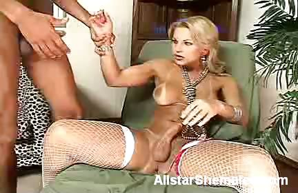 Porn Tube of Busty Blonde Shemale Offers Her Cock