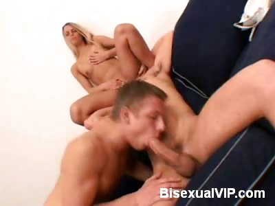 Porn Tube of Naughty Blonde Goes For A Bisexual Mmf