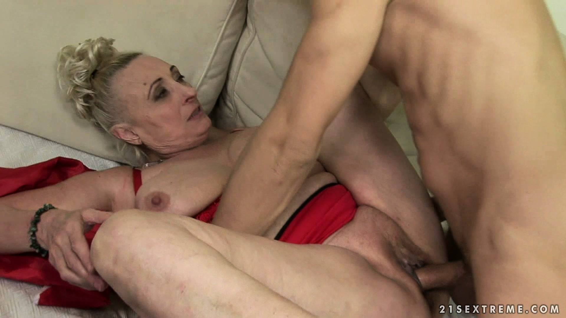 Porno Video of Horny Grandma's Christmas Sex Fantasy Turning Into Reality With A Young Man