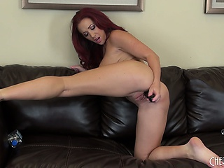 jayden jaymes puts on a hot solo show every time, on the cool leather couch