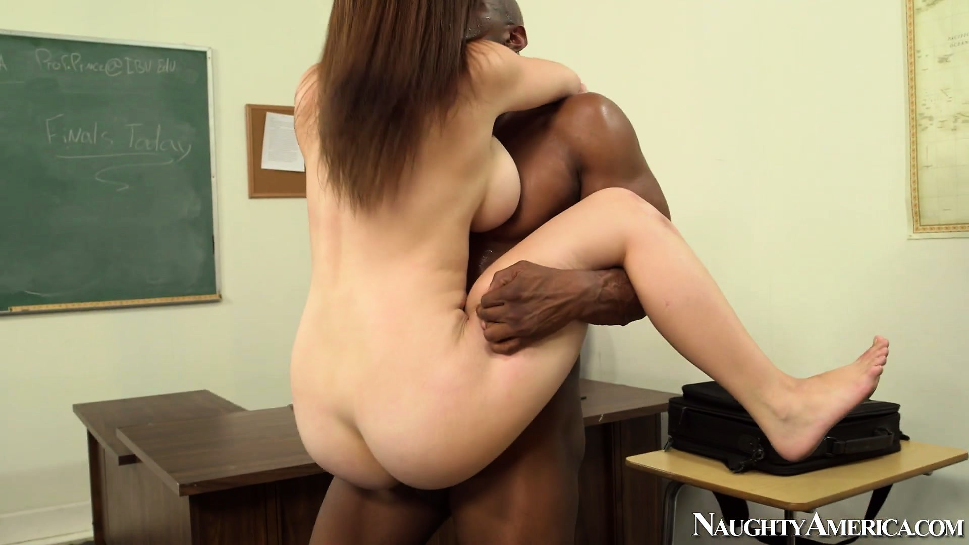 Porno Video of Milky White Girl Noelle Easton Gets To Play With The Teacher's Big Black Cock
