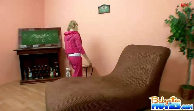Porno Video of Playful Blonde Babysitter Jessie Dalton Gets Caught Drinking Wine