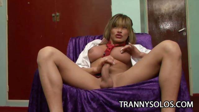 Porno Video of Big Tit Shemale Masturbating