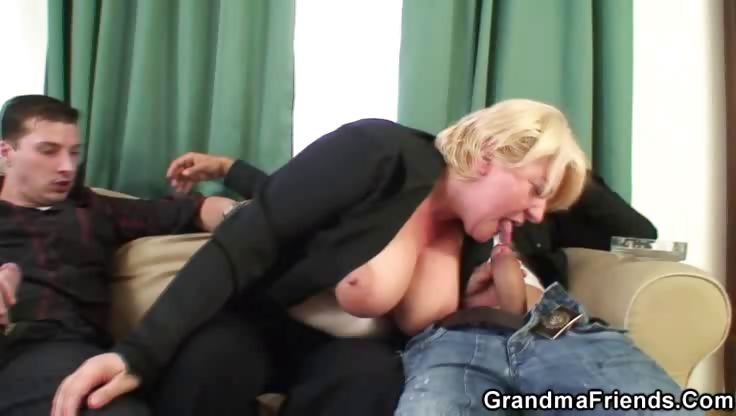 Sex Movie of Granny Worn Out By Two Cocks