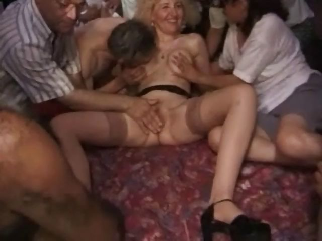 Porn Tube of Frizzy Blonde Is In A Gangbang And Blows And Gets Nailed For Messy Facial