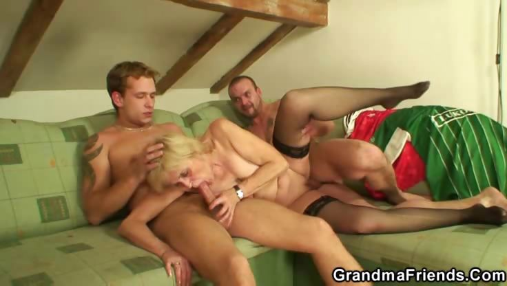 Porno Video of Granny Can Suck On Two Cocks
