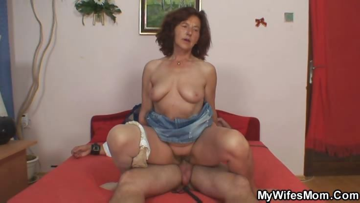 Porno Video of Granny Grinds Pussy On His Cock