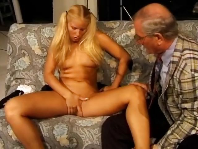 Porno Video of Cute Blonde In Pigtails Takes The Old Man's Cock In Mouth And Pussy