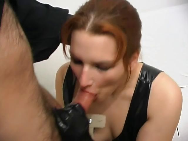 Porno Video of Hot Redhead In Latex Eats His Stick And Then Gets Both Holes Nailed