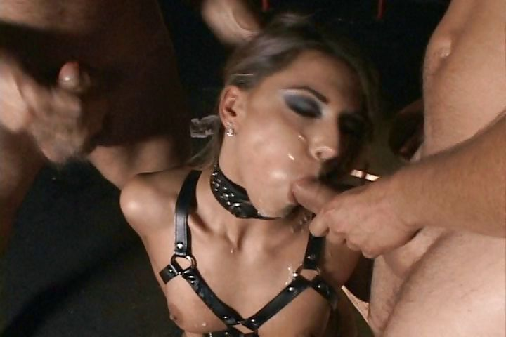 Porn Tube of Nasty Slut Is Released From Her Cage And Set Free On Three Hard Dicks