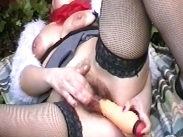 Porno Video of Blonde Granny Is Outside With Her Toy And Gives Her Pussy A Good Plugging
