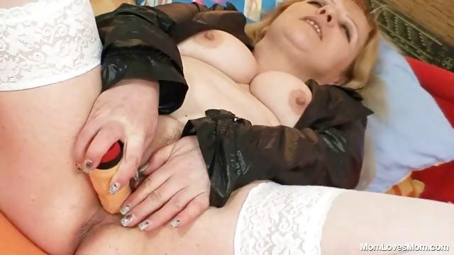 Porn Tube of Horny Older Lady Wears Stockings And Toys Herself