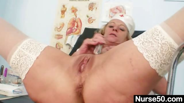 Porn Tube of Blond Granny Nurse Using Gyno Pussy Spreader