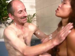 Porno Video of Old Guy Jacks Off In The Shower And Covers His Bitch In Cum