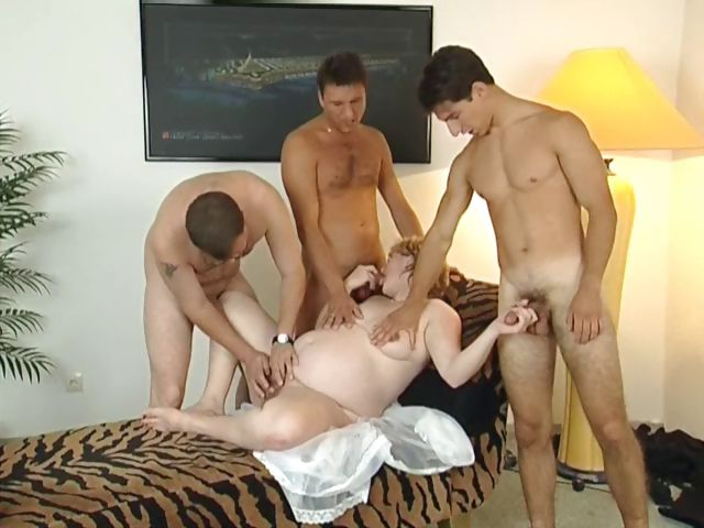 Porno Video of Yummy Pregnant Blonde Milf Gets Three Men To Please Her Holes
