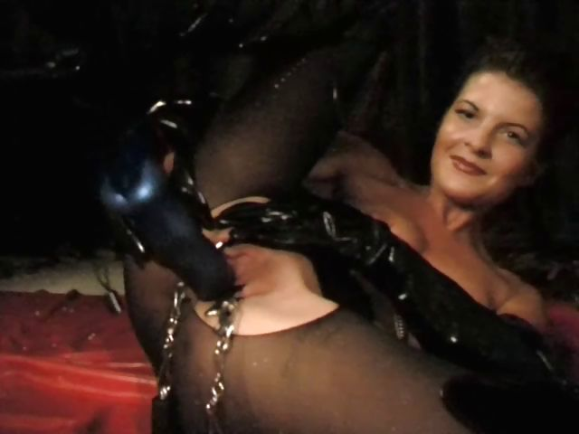 Porn Tube of Bdsm Loving German In Latex Spreads Her Pussy With Clamps